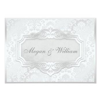 elegant silver damask wedding invitation