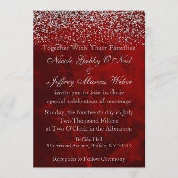 elegant silver glitter on red wedding invitation