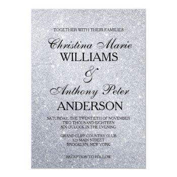 Small Elegant Silver Glitter Wedding Invitation Front View