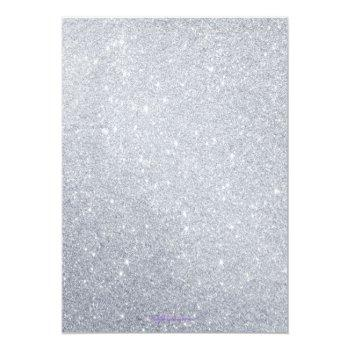Small Elegant Silver Glitter Wedding Invitation Back View