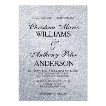 elegant silver glitter wedding invitation