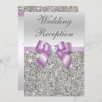 elegant silver sequins lilac bow wedding reception invitation
