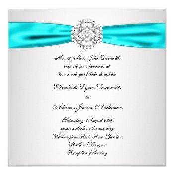 Small Elegant Silver Teal Blue Wedding Invitations Back View