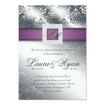 elegant silver wedding damask jewels purple invitation