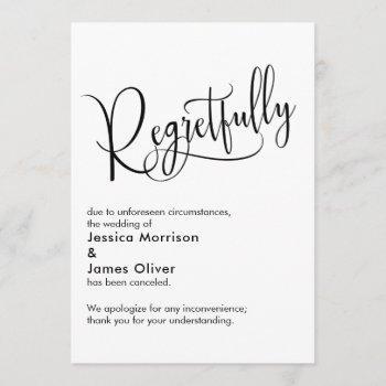 "elegant simple ""regretfully"" canceled wedding card"