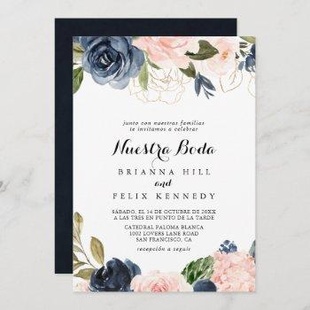 elegant simple winter floral nuestra boda wedding invitation