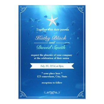 elegant starfish ocean blue wedding invitations