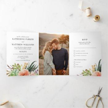 elegant succulent rose all-in-one wedding photo tri-fold invitation