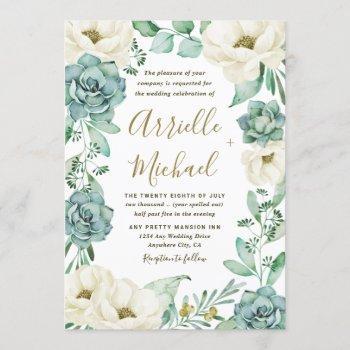 elegant succulent watercolor ivory floral wedding invitation