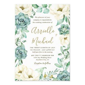 elegant succulent watercolor ivory floral wedding invitation