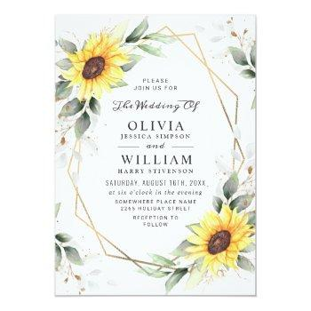 Small Elegant Sunflowers Watercolor Greenery Wedding Invitation Front View
