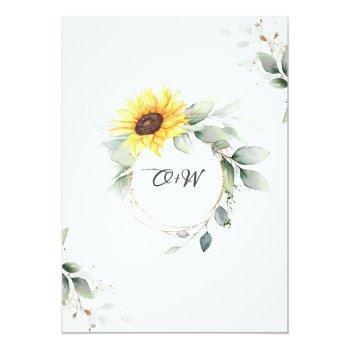 Small Elegant Sunflowers Watercolor Greenery Wedding Invitation Back View