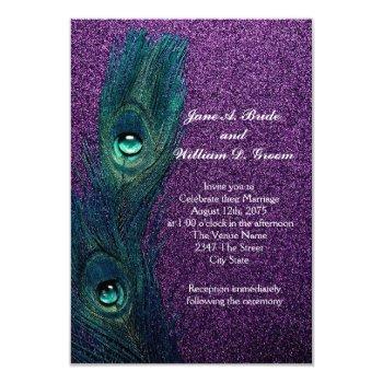 elegant teal blue and purple peacock wedding invitation
