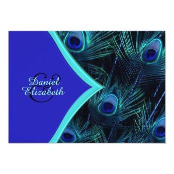 elegant teal blue and royal blue peacock wedding invitation