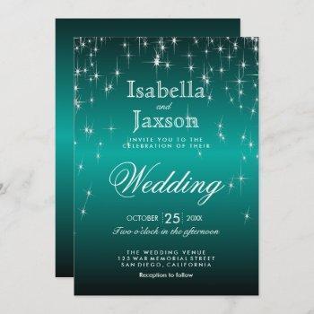 elegant teal star lights wedding invitation