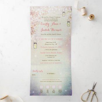 elegant tri-fold heart leaf wedding includes rsvp