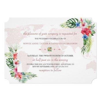 elegant tropical floral gold world map wedding invitation