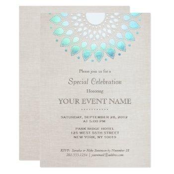 elegant turquoise blue beige linen look invitation