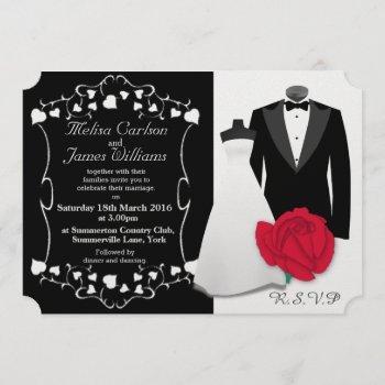 elegant tuxedo and wedding dress invitation