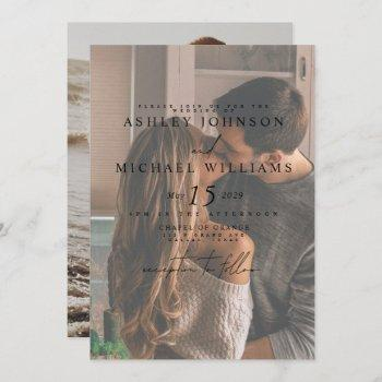 elegant vellum overlay 2 photo wedding invitation