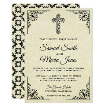 elegant vintage cross christian wedding invitation