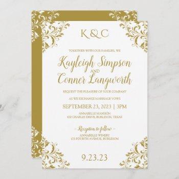 elegant vintage gold wedding invitations
