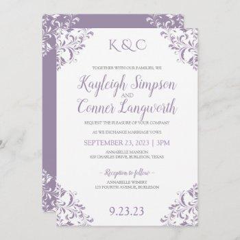 elegant vintage lavender wedding invitations