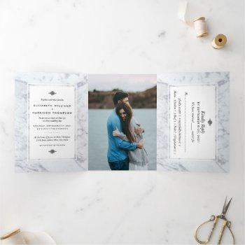 elegant vintage marble wedding suite tri-fold invitation