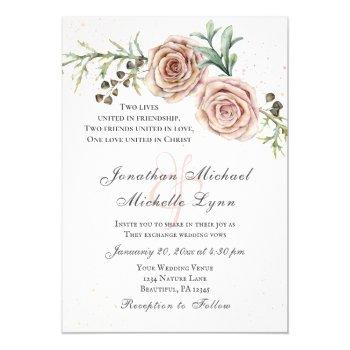 elegant vintage pink roses greenery inspirational invitation