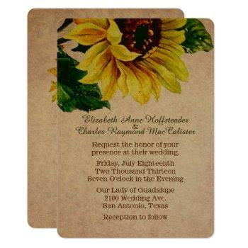 elegant vintage sunflower wedding invitation