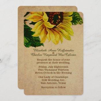 elegant vintage sunflower wedding invitation