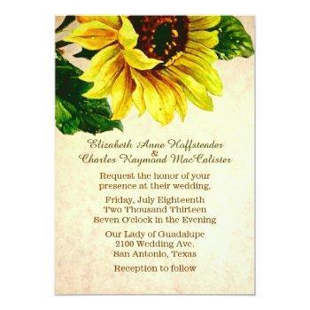 Small Elegant Vintage Sunflower Wedding Invitation Front View