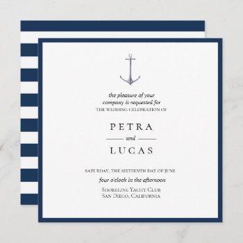 elegant watercolor anchor wedding invitation