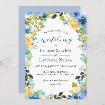 elegant watercolor blue yellow rose garden wedding invitation