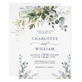 elegant watercolor eucalyptus greenery wedding invitation