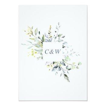 Small Elegant Watercolor Eucalyptus Greenery Wedding Invitation Back View