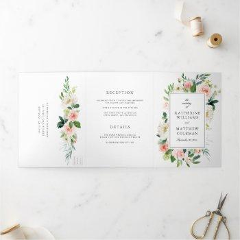 elegant watercolor floral all-in-one photo wedding tri-fold invitation