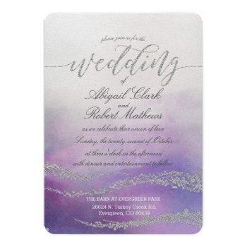 elegant watercolor in orchid wedding invitation