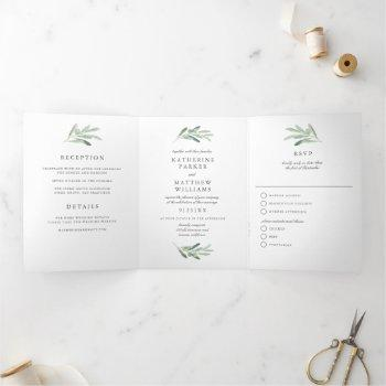 elegant watercolor olive branch all-in-one wedding tri-fold invitation