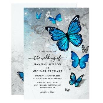 elegant watercolor silver blue butterfly wedding invitation