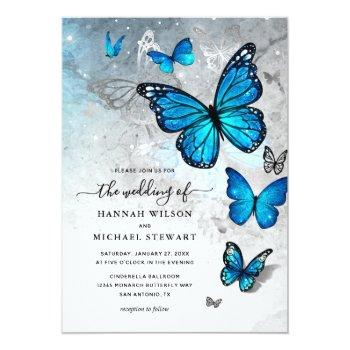 Small Elegant Watercolor Silver Blue Butterfly Wedding Invitation Front View
