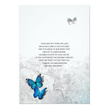 Small Elegant Watercolor Silver Blue Butterfly Wedding Invitation Back View