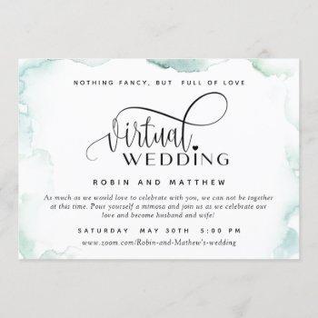 elegant watercolor stains, online virtual wedding invitation
