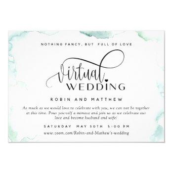 elegant watercolor stains, online virtual wedding invitation