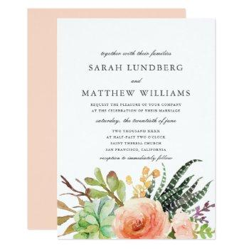 elegant watercolor succulent  | wedding invitation