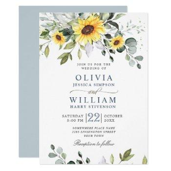elegant watercolor sunflowers eucalyptus wedding invitation