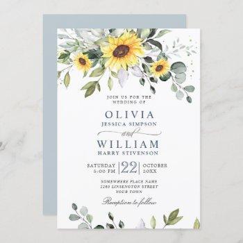 elegant watercolor sunflowers eucalyptus wedding invitation