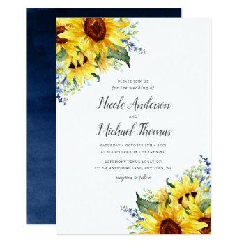 elegant watercolor sunflowers wedding invitation
