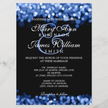 elegant wedding blue lights invitation