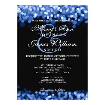 elegant wedding blue lights invitation